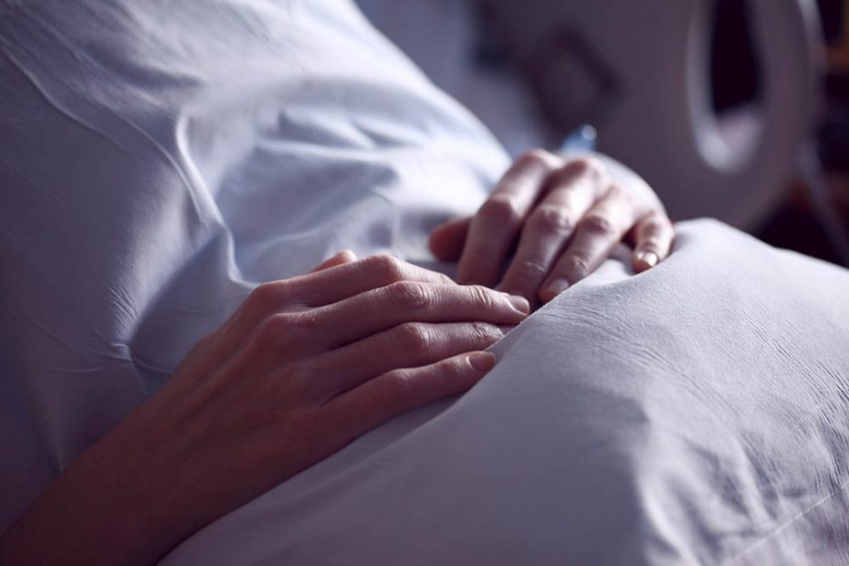 woman in hospital bed