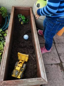 planter box with dirt